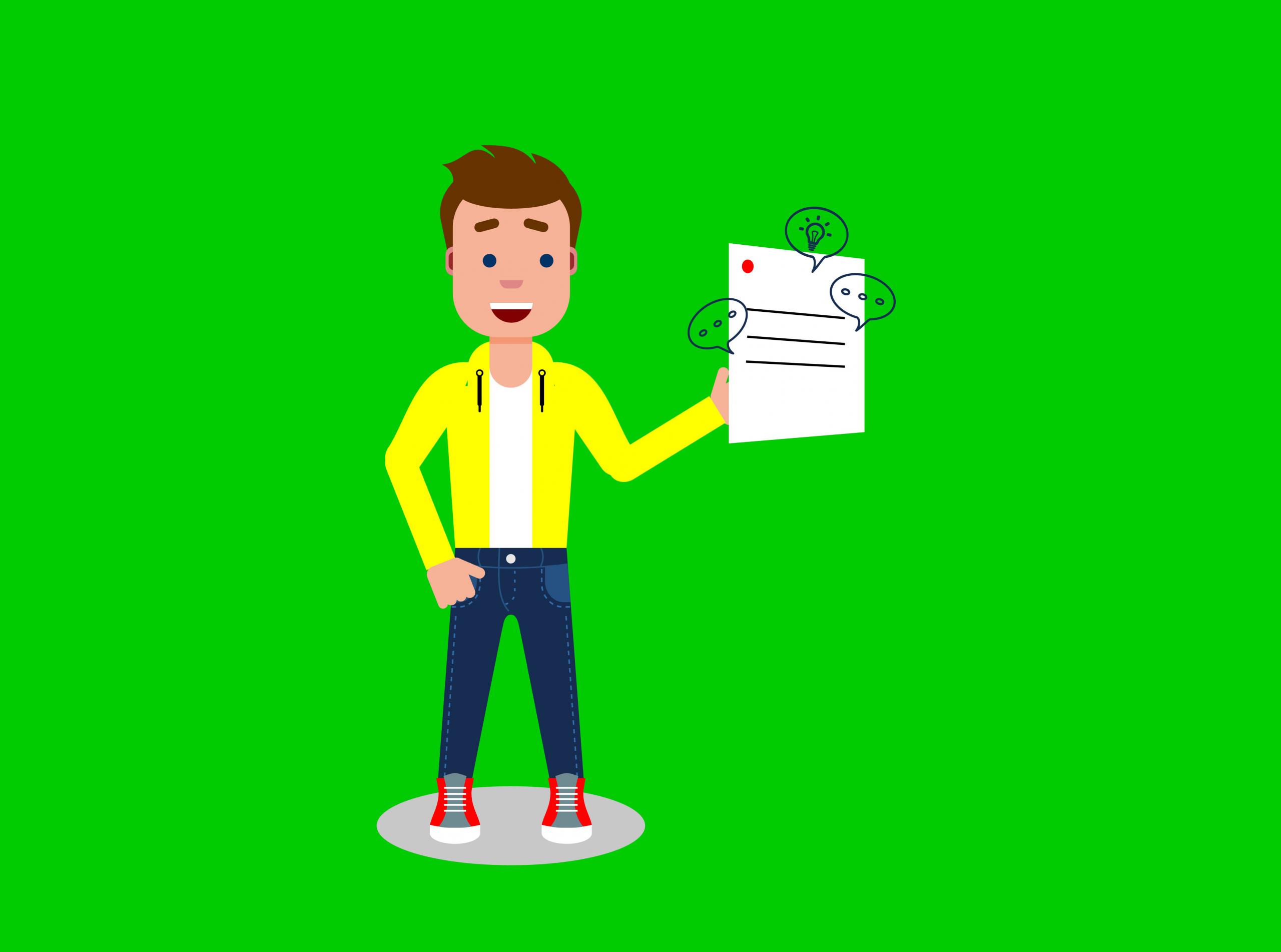 un prestataire tient un brief en main